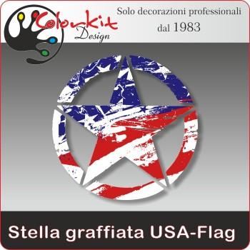 Stella graffiata USA-Flag (varie misure)