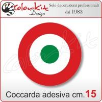 Coccarda adesiva tricolore cm.15