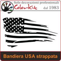 Bandiera USA strappata