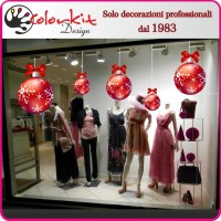 Palla natalizia rossa 04 per vetrina
