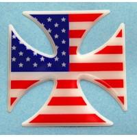 Croce di Malta con bandiera USA cm 7x7 3D