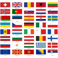 40 bandiere europee cm.8x4,5